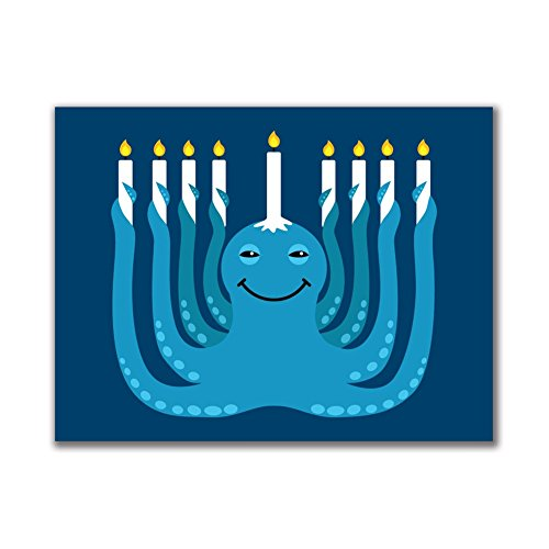 Hanukkah Menorah-ctopus Funny Octopus 3x4in. Rectangular Decal (Funny Menorahs)