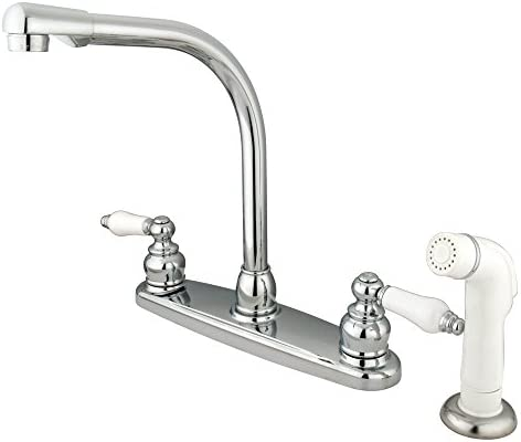 Kingston Brass KB711 Victorian High Arch Kitchen Faucet with Sprayer, Polished Chrome