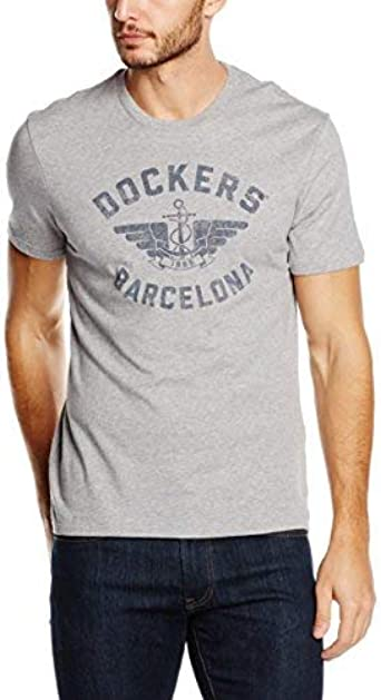 Dockers City Logo Barcelona, Camiseta Hombre, Gris (Grey ...