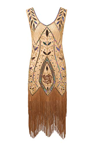 Metme Women's 1920s Flapper Fringe Beaded Great Gatsby Party Dress Pink Brown