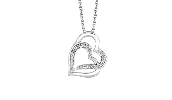Ritastephens Sterling Silver /& Diamond Double 2 Heart Charm Pendant Necklace 18 Inches 0.07ct