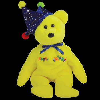TY Beanie Baby - HAPPY BIRTHDAY the Bear ( Yellow - w/ Hat )
