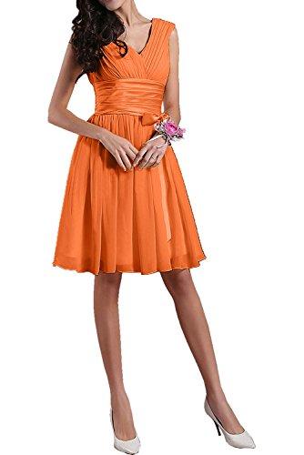 Satin aermellos Ivydressing Partykleid Guertel Damen kurz Cocktailkleid Falte mini Linie Orange Chiffon V A einfach Heimkehrkleid Neck xx1prv8