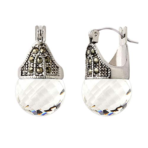 (Linda Schnoll Hematite and Ball Hinged Pierced Earrings - Swarovski Crystal Faceted)