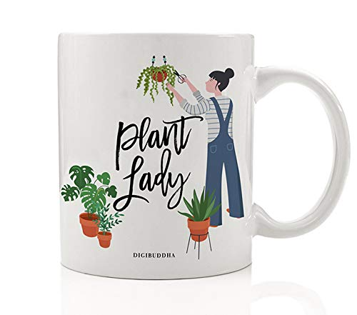 Plant Lady Coffee Mug Gift Idea Perfect for Green Thumb Gardener Christmas Holiday Birthday Present Landscaper Flowers Vegetable Gardening Lover Family Friend 11oz Ceramic Tea Cup Digibuddha DM0435