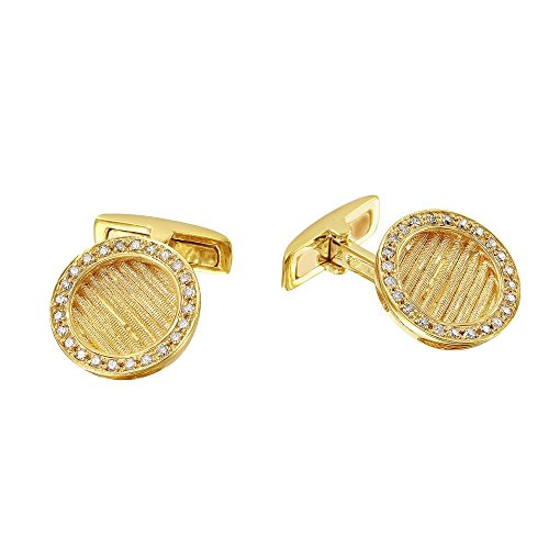 (18K Yellow Gold Round Cuff Links (0.46 ctw, K Color, I2 Clarity))