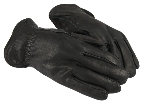 Lined Leather Driver (Forney 53112 Black Cowhide Leather Driver Premium Lined Men's Gloves,)