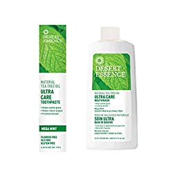 Desert Essence Natural Tea Tree Oil Ultra Care Bundle - 1 Unit of 6.25 Ounce Mega Mint Toothpaste & 16 Fl Ounce Mouthwash - Freshen Breath - May Help Reduce Plaque - Oral Care - Refreshing Taste