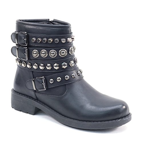 Women's Rock Style Rivets Buckle Flat Ankle Boots Vegan Leather Black