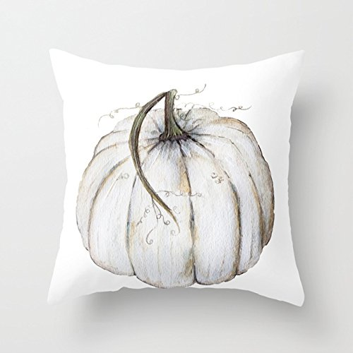 UOOPOO White Pumpkin Home Decorative Halloween Throw Pillow Cover Square 18 x 18 Inches Cotton Canvas Wedding Pillow Case Happy Fall Cushion Cover for Sofa One Side Printed]()