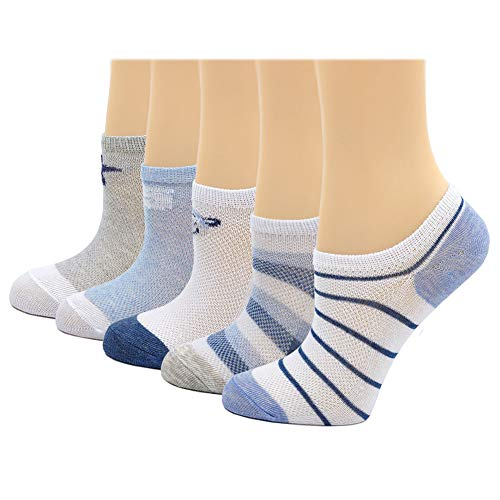 (Kids No Show Mesh Ankle Socks Boys Toddler Summer Thin Low Cut Liners Youth Girls Cotton Sock 5 Pairs)