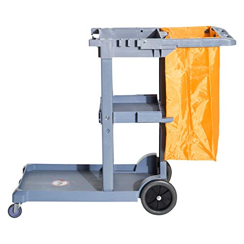 Microfiber Cart Janitor (Cart Janitor Janitorial Cleaning Cart Rolling Janitor UItility Cart w/ 3 Shelves & Vinyl Bag)