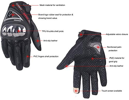 SCOYCO Men's Race Extreme Sports Protective Outdoor Motorcycle Gloves(Black,XL) by SCOYCO (Image #1)
