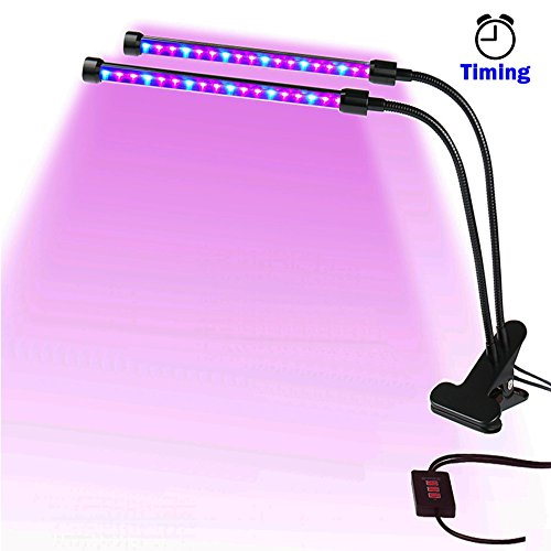 LED Grow Light for Indoor Plants Growing Light Fixture with Timing and Dimming Function Dimmable Dual Head Light Bulbs with Gooseneck for Indoor Gardening Plants Hydroponics by RayTour