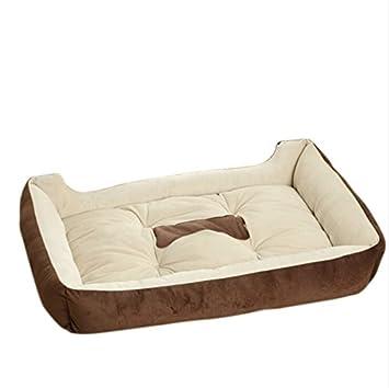 Mascotas Amortiguador Cama Nido Caliente Suave del sofá para Perros Gato Cojín Almohada del Animal doméstico en Invierno y Otoño 60 * 45 * 15cmMarrón 2: ...
