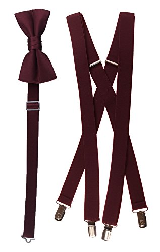 Bow Tie and Suspender Set Combo in Men's & Kids Sizes (48'' Men's, Burgundy) by Tuxgear