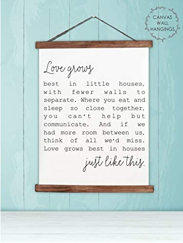 Amazon Com Wood Canvas Wall Hanging Love Grows Best Little