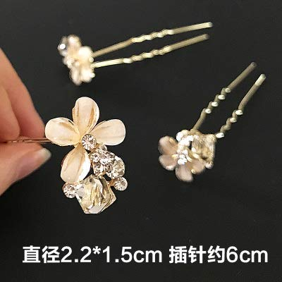 OLIJU Boutique Diamond Hair Styling Clip Jewelry Hairpin Fork Type Dish Made Pearl Flower Plug Bridal Accessories (Gray ()