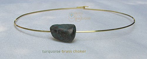 (GemsBeautique Turquoise Gold Neck Ring Choker. Genuine Freeform Gemstone. Solid Brass Minimal Neck Ring 15
