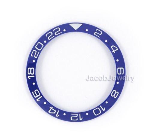 Gmt White Ceramic (Blue White Ceramic Bezel Ring Insert Fit GMT Master II 40mm Watch)