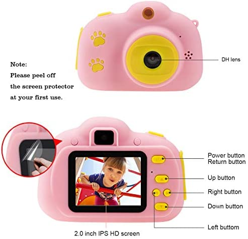Cocopa Camera for Kids Cameras for Girls Video Camera 32 GB TF Card Toys for five 4 6 Years Old Girls Selfie Digital Cameras for Children Birthday Gifts for Girls Aged 7 8 9 10 Toddlers (Pink)