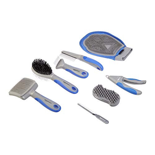 AmazonBasics Pet Grooming Set Brush Shedding Tool Comb Scissors Nail Clippers – 8 in 1, Blue