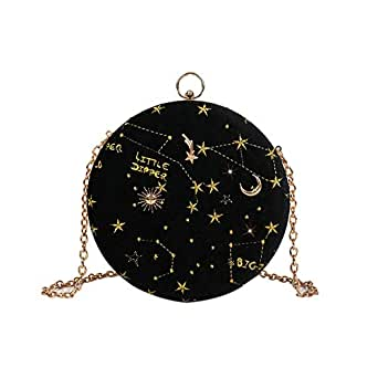 TOOGOO Starry Sky Circular Fashion Suede Shoulder Bag Chain Belt Women'S Crossbody Messenger Bags Ladies Purse Female Round Handbag Black