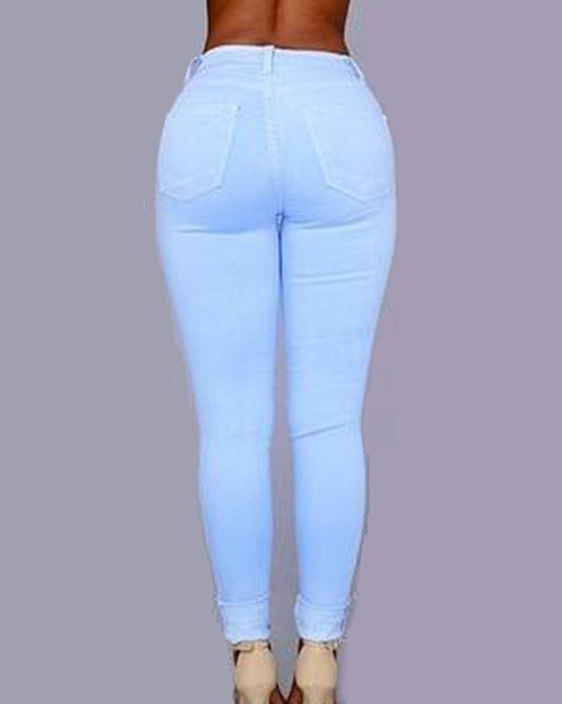 Mujer Cintura Alta Pantalones Rotos En La Rodilla Jeans Mujer Elastico Skinny Vaqueros Leggings Ropa Aceautocare Net