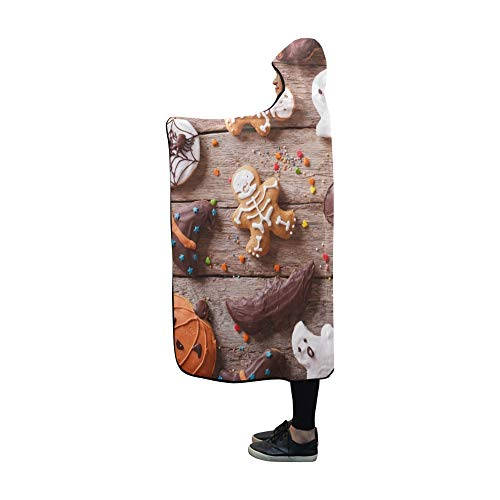 YUMOING Hooded Blanket Festive Gingerbread Halloween On Table Horizontal Blanket 60x50 Inch Comfotable Hooded Throw Wrap