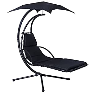 Black Hanging Chaise Lounger Chair Build-in Canopy Capacity 330 Lbs w/ Removable Cushion