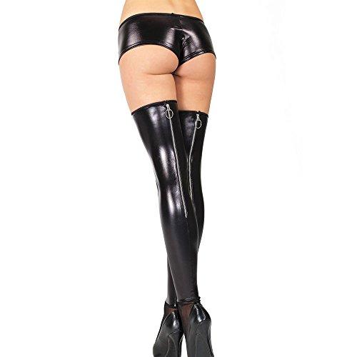 Coquette Darque Plus Size aspecto mojado medias con cremallera en la espalda negro