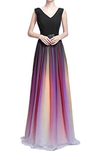 Damen Linie Abendkleid Ausschnitt Ivydressing Chiffon Elegant Promkleid A Festkleid Schwarz V Partykleid SFBqd
