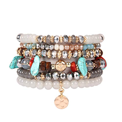 RIAH FASHION Bohemian Multi-Layer Sparkly Crystal Bead Charm Bracelet - Stretch Strand Stackable Bangle Set Tassel/Coin/Lava Diffuser Crescent (Bohemian Coin - Gray)