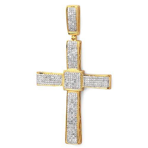 1.00 Carat(ctw) 18k Yellow Gold Plated Sterling Silver Diamond Men's Hip Hop Religious Cross Pendant 1 CT