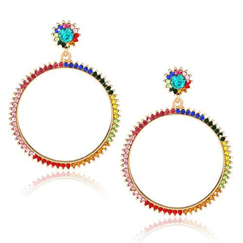 XOCARTIGE Crystal Hoop Earrings Colorful Rhinestone Drop Dangle Earrings Studs for Women Girls (A Mixed Color)