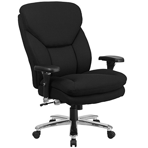(Flash Furniture HERCULES Series 24/7 Intensive Use Big & Tall 400 lb. Rated Black Fabric Executive Swivel Chair with Lumbar Knob)