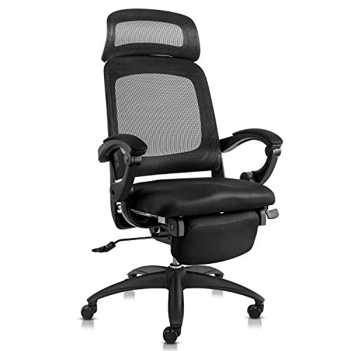 MDL Furniture Reclining Office Chair High Back Ergonomic Office Chair Mesh Recliner Napping Chair with Footrest Black
