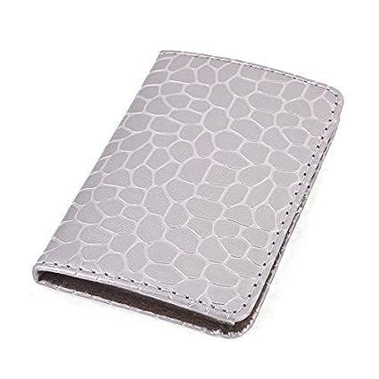 Amazon.com : eDealMax imitación de Cuero Titular de la tarjeta de adoquines Imprime Protector, Gris Plata : Office Products