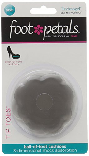 Foot Petals Women's Tip Toes Ball Of Foot Insole, Charcoal, Medium/One Size M US (Foot Toes Petals Tip)