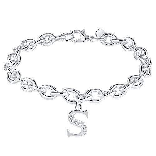 (WIBERN Jewelry Silver Tone Zircon Stone 26 Letters Alphabet Initial Charm Link Bracelet for Women (Alphabet S))