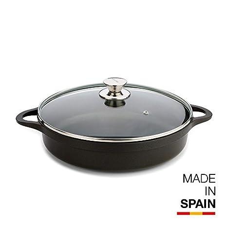Valira Cazuelas - Cazuela Premium de 28 cm baja hecha en España, aluminio fundido con antiadherente reforzado, apta para inducción, incluye tapa y ...