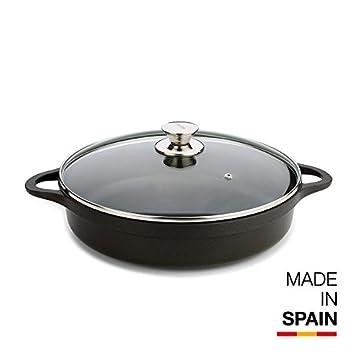 Valira Cazuelas - Cazuela Premium de 28 cm baja hecha en España, aluminio fundido con antiadherente reforzado, apta para inducción, incluye tapa y asas: ...