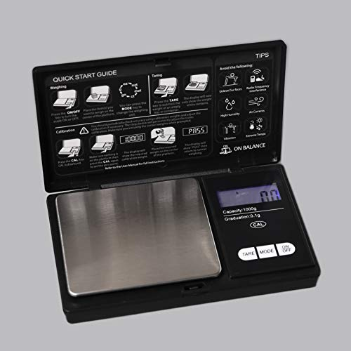 New Scale Digital Pocket Scale,1000g by 0.1G,Digital Grams Scale, Food Scale, Jewelry Scale Black, Kitchen Scale (TOP-1000G) ()