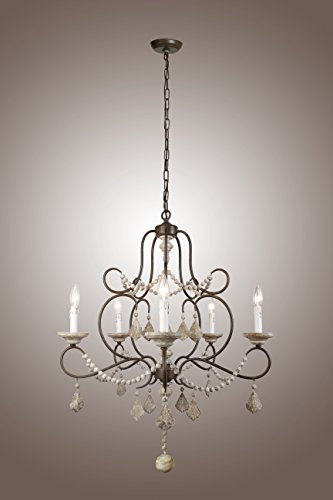 Chateau Iron Chandelier - 5 Lights Iron Frame Wood Beads Chandelier French Chateau Country