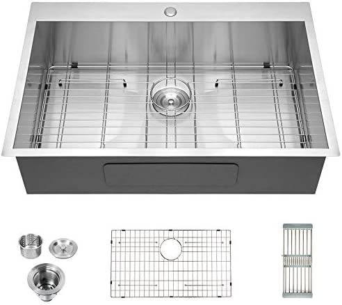 Logmey Luxury 33 x22 Drop-in Topmount 18 Gauge Stainless Steel Kitchen Sink Single Bowl
