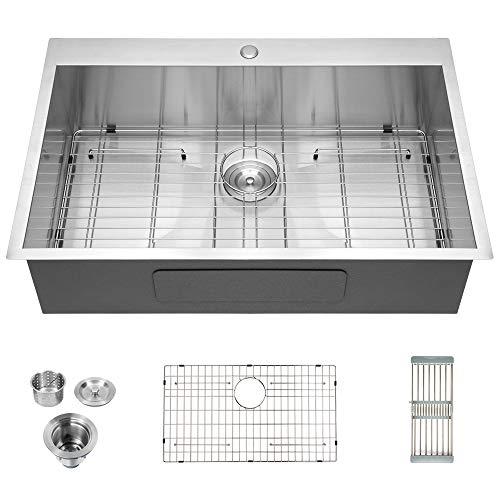 Logmey Luxury 33'x22' Drop-in Topmount 18 Gauge Stainless Steel Kitchen Sink...