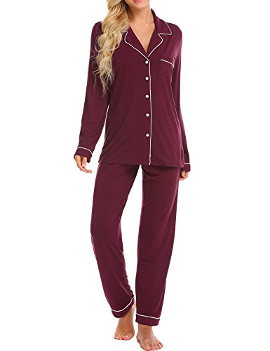 - Ekouaer Pajamas Women's Long Sleeve Sleepwear Soft Pj Set,Wine Red,Medium