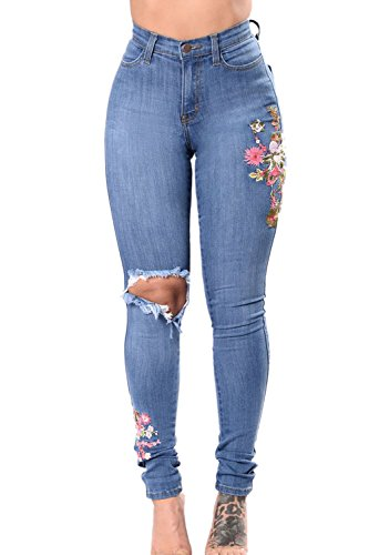 Simgahuva Womens Bordado Cintura Alta Pantalones Vaqueros Elásticos Recto Lápiz Azul Claro