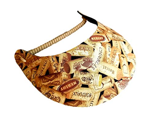 The Incredible Sunvisor Assorted Novelty Patterns Perfect for Summer! Made in The USA!! (Wine Corks (NOV -