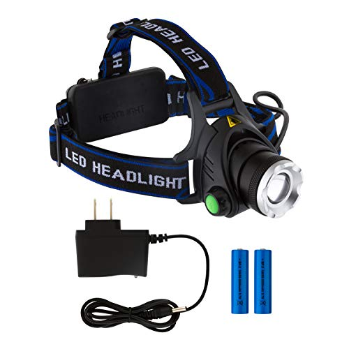 Led Headlamp Super Bright Camping Head Lamps for Adults Head Flashlight with 2x18650 Rechargeable Batteries and Charger